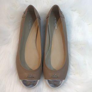 COACH nude w/ silver tip flats